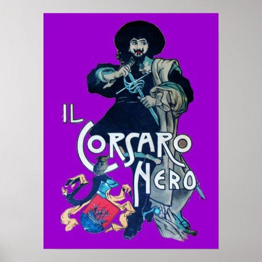La púrpura NEGRA del CORSARIO Posters