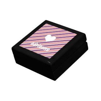 La púrpura rosada raya la caja elegante de la bara joyero cuadrado pequeño