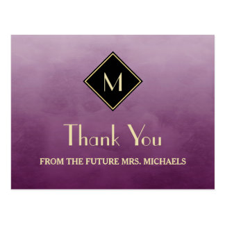 La púrpura simple elegante con el monograma del postal