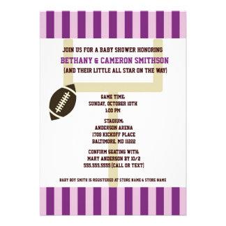 La púrpura y la fiesta de bienvenida al bebé del f invitacion personalizada