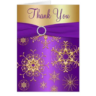 La púrpura y los copos de nieve del oro le agradec tarjeta pequeña