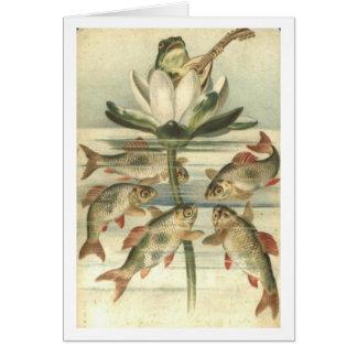 La rana del canto tarjeta de felicitación