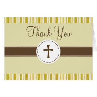 La raya amarilla del bautizo le agradece cardar tarjeta pequeña