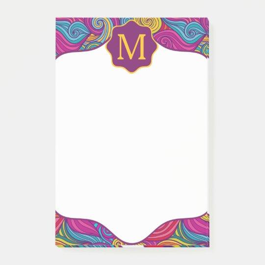 La raya ondulada colorida personalizada remolina notas post-it®