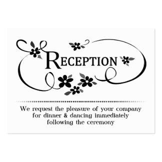 la recepción 3.5x2.5 carda floral negro y blanco tarjetas de visita grandes