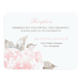 La recepción carda rosas rosados de la acuarela invitación 10,8 x 13,9 cm