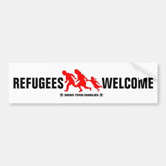 La recepción de los refugiados trae a sus familias pegatina para coche