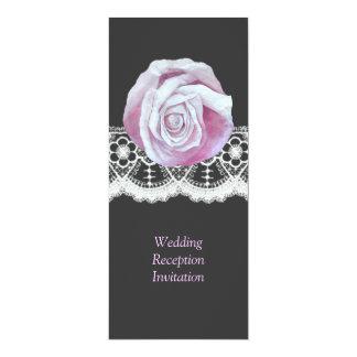 La recepción nupcial elegante elegante del cordón invitación 10,1 x 23,5 cm