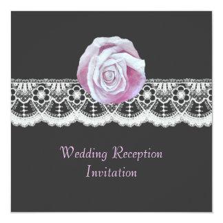 La recepción nupcial elegante elegante del cordón invitación 13,3 cm x 13,3cm