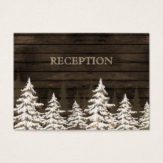 La recepción rústica del invierno de los árboles tarjeta de negocios
