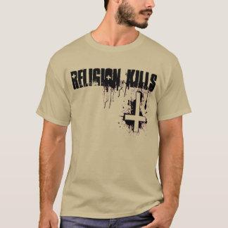 La religión mata a la camiseta cruzada invertida