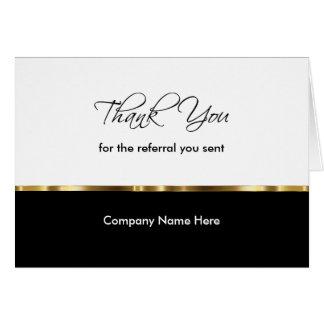 La remisión con clase del negocio le agradece las tarjeta pequeña