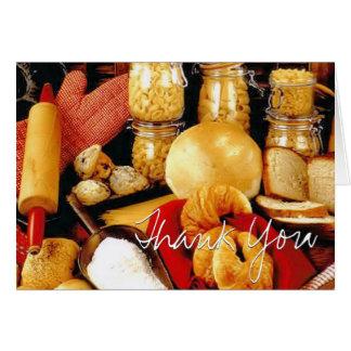 La repostería y pastelería/cocina le agradece tarj tarjeta de felicitación