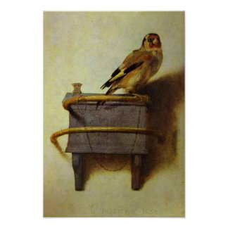 La reproducción de la pintura del Goldfinch Póster