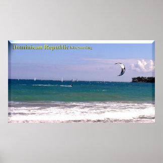 La República Dominicana vara el poster Kitesurfing Póster