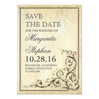 La reserva del vintage la tarjeta de fecha con invitación 11,4 x 15,8 cm