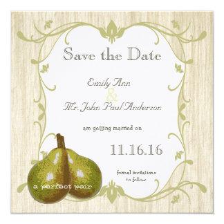 La reserva perfecta de la pera la fecha invitación 13,3 cm x 13,3cm