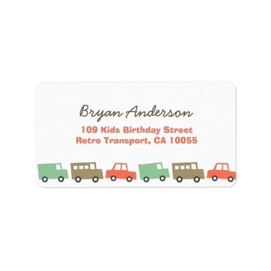 La retro de la dirección del cumpleaños del etiquetas de dirección