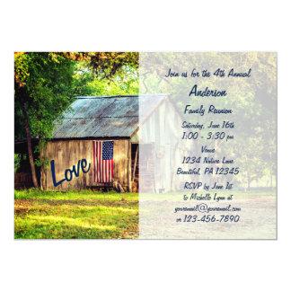 La reunión de familia de la bandera americana del invitación 12,7 x 17,8 cm