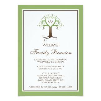 La reunión de familia de la inicial del monograma invitación 12,7 x 17,8 cm
