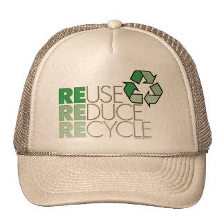 La reutilización, reduce, recicla el gorra de Eco