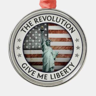 La revolución adorno navideño redondo de metal