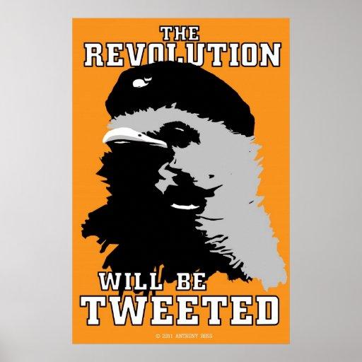 La revolución será poster anaranjado piado