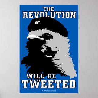La revolución será poster azul piado