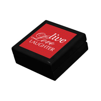 La risa viva del amor redacta la caja roja de la b joyero cuadrado pequeño