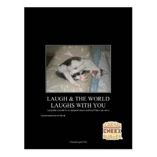 La risa y el mundo ríe con usted postal
