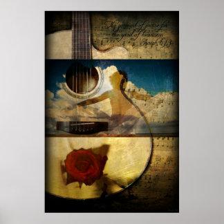 La ropa de la alabanza (poster de la guitarra) póster