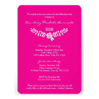 La rosa fuerte de la enfermera de la graduación/RN Invitación 12,7 X 17,8 Cm