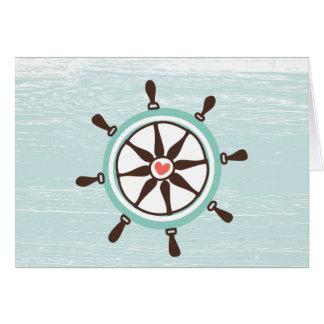 La rueda de la nave náutica toda la tarjeta de la