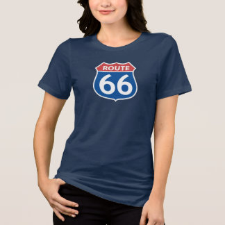 La RUTA 66 ROJA, camiseta AZUL de las mujeres de