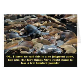 La sabiduría del león marino pierde el peso tarjeta de felicitación