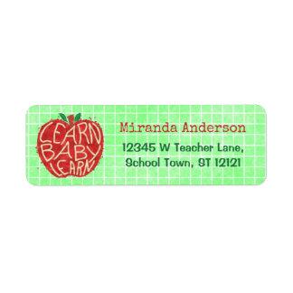 La sala de clase Apple el | de la escuela del Etiqueta De Remite
