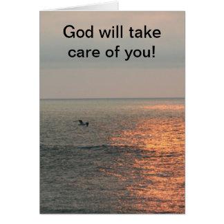 ¡La salida del sol, dios tomará el cuidado de Tarjeta De Felicitación