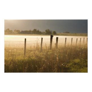 La salida del sol enciende la niebla a lo largo de fotos