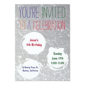 La salpicadura de la pintura invita al fiesta invitación 12,7 x 17,8 cm