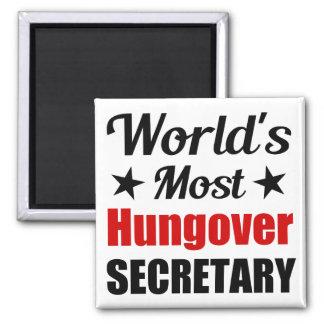 La secretaria más hungover Funny Drinking del Imán Cuadrado