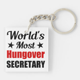 La secretaria más hungover Funny Drinking del Llavero Cuadrado Acrílico A Doble Cara
