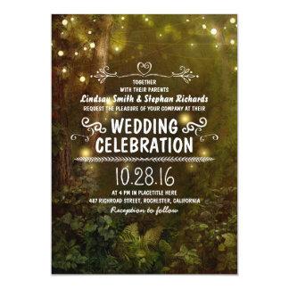 la secuencia encantada del bosque enciende invitación 12,7 x 17,8 cm