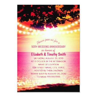 La secuencia enciende aniversario de boda de playa invitación 12,7 x 17,8 cm