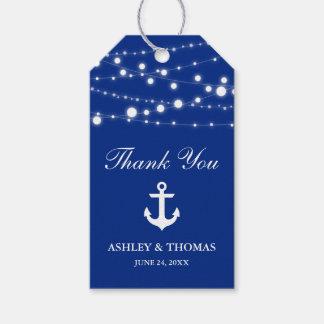 La secuencia náutica del ancla del boda enciende etiquetas para regalos