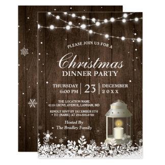 La secuencia rústica de la fiesta de Navidad Invitación 12,7 X 17,8 Cm