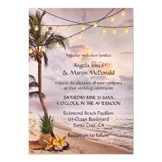 La secuencia tropical de la playa enciende la invitación 12,7 x 17,8 cm