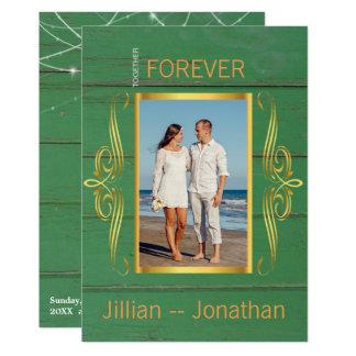 La secuencia verde rústica enciende el boda de invitación 12,7 x 17,8 cm