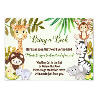 La selva trae una tarjeta de libro, safari trae