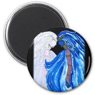 La señora de la llama azul imán redondo 5 cm