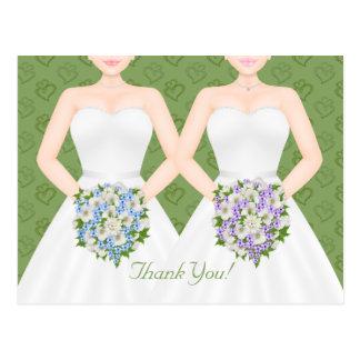 La señora y la señora dos boda lesbiano de las postal